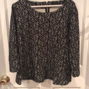 J. Crew white and black lace peplum blouse